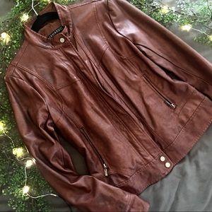 Bernardo brown leather jacket